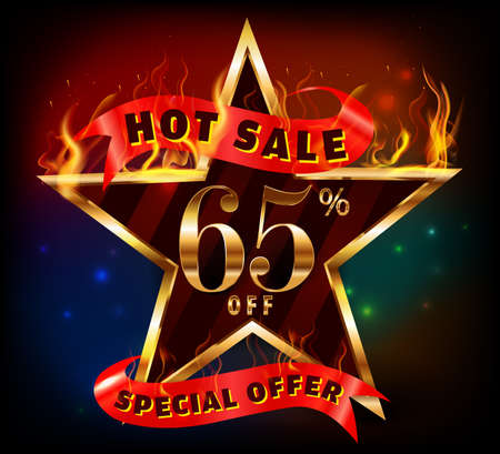 65: 65% off, 65 sale discount hot sale with special offer and fire effect- vector EPS10 Illustration
