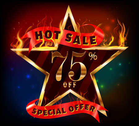 inheritance: 75% off, 75 sale discount hot sale with special offer and fire effect- vector EPS10