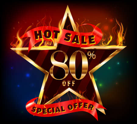 80: 80% off, 80 sale discount hot sale with special offer and fire effect- vector EPS10 Illustration