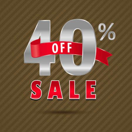 40: 40 percent off, 40 sale discount text- vector EPS10