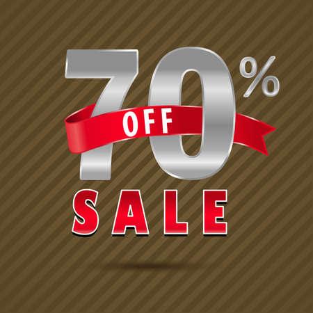 70: 70 percent off, 70 sale discount text- vector EPS10 Illustration