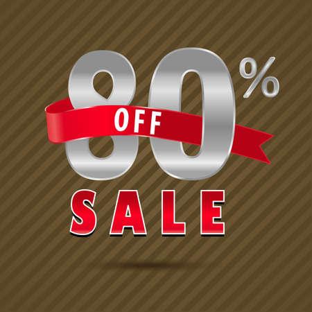 80: 80 percent off, 80 sale discount text- vector EPS10
