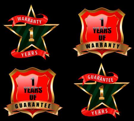 one year warranty: 1 guarantee and warranty badge, guarantee sign, warranty label - vector eps 10