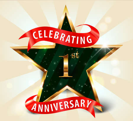 1 year anniversary celebration golden star ribbon, celebrating 1st anniversary decorative golden invitation card - vector eps10 Vector
