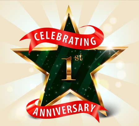 1 year anniversary: 1 year anniversary celebration golden star ribbon, celebrating 1st anniversary decorative golden invitation card - vector eps10