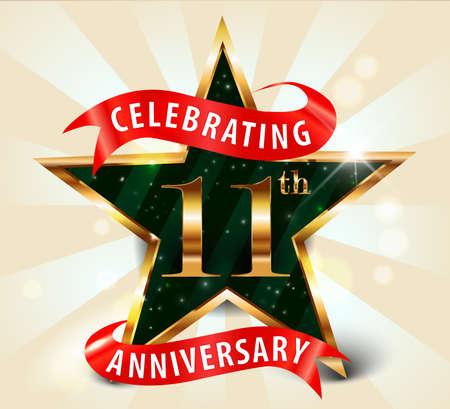 11th: 11 year anniversary celebration golden star ribbon, celebrating 11th anniversary decorative golden invitation card - vector eps10
