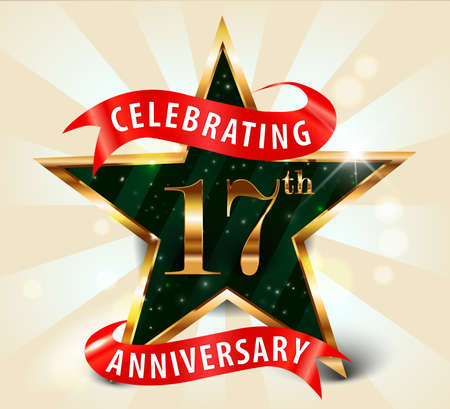 17th: 17 year anniversary celebration golden star ribbon, celebrating 17th anniversary decorative golden invitation card - vector eps10