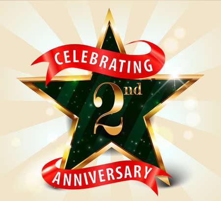anniversaire: 2 années ruban célébration de l'anniversaire de golden star, célébrations marquant le 2e anniversaire décorative carte d'invitation d'or - vecteur eps10