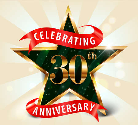30 year anniversary celebration golden star ribbon, celebrating 30th anniversary decorative golden invitation card - vector eps10 Vectores
