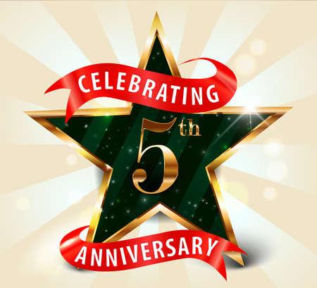 5 year anniversary celebration golden star ribbon, celebrating 5th anniversary decorative golden invitation card - vector eps10