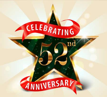 anniversaire: 52 années ruban célébration de l'anniversaire de golden star, célébrer 52e anniversaire décorative carte d'invitation d'or - vecteur eps10