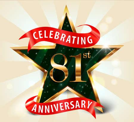 81: 81 year anniversary celebration golden star ribbon, celebrating 81st anniversary decorative golden invitation card - vector eps10