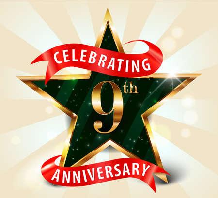 9 year anniversary celebration golden star ribbon, celebrating 9th anniversary decorative golden invitation card - vector eps10