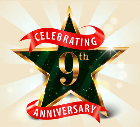 anniversaries: 9 year anniversary celebration golden star ribbon, celebrating 9th anniversary decorative golden invitation card - vector eps10
