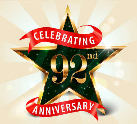 92: 92 year anniversary celebration golden star ribbon, celebrating 92nd anniversary decorative golden invitation card - vector eps10