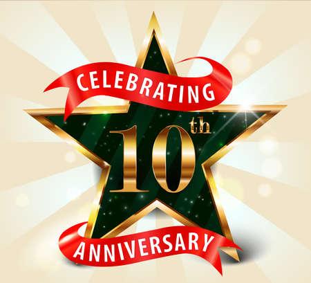 10 年周年記念祭典ゴールデン スター リボン、10 周年記念黄金の装飾招待状カード - ベクトル eps10 を祝う