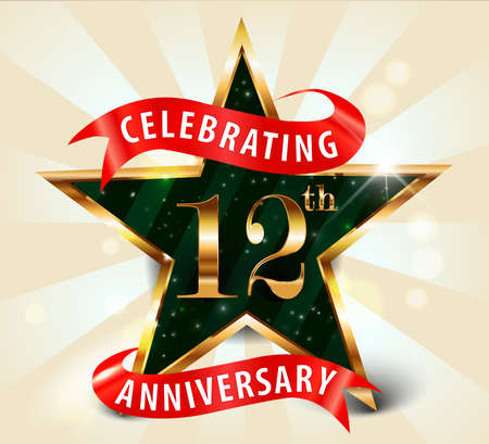 십이년 주년 기념 골든 스타 리본 12 주년 장식 황금 초대 카드를 축하 - 벡터 EPS10 스톡 콘텐츠 - 37742382