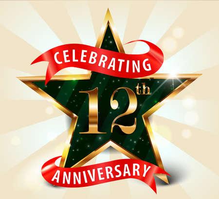 12 year anniversary celebration golden star ribbon, celebrating 12th anniversary decorative golden invitation card - vector eps10