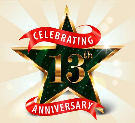 13 year anniversary celebration golden star ribbon, celebrating 13th anniversary decorative golden invitation card - vector eps10 Vectores