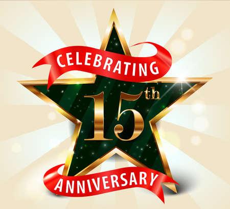 celebration: 15 year anniversary celebration golden star ribbon, celebrating 15th anniversary decorative golden invitation card - vector eps10 Illustration