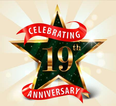 19th: 19 year anniversary celebration golden star ribbon, celebrating 19th anniversary decorative golden invitation card - vector eps10