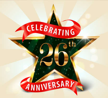 26 year anniversary celebration golden star ribbon, celebrating 26th anniversary decorative golden invitation card - vector eps10