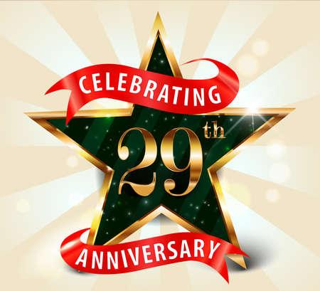 29 year anniversary celebration golden star ribbon, celebrating 29th anniversary decorative golden invitation card - vector eps10
