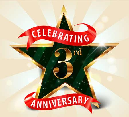 3 year anniversary celebration golden star ribbon, celebrating 3rdanniversary decorative golden invitation card - vector eps10 일러스트