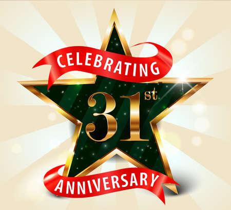 31 year anniversary celebration golden star ribbon, celebrating 31st anniversary decorative golden invitation card - vector eps10