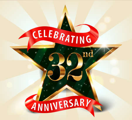 32 year anniversary celebration golden star ribbon, celebrating 32nd anniversary decorative golden invitation card - vector eps10 일러스트