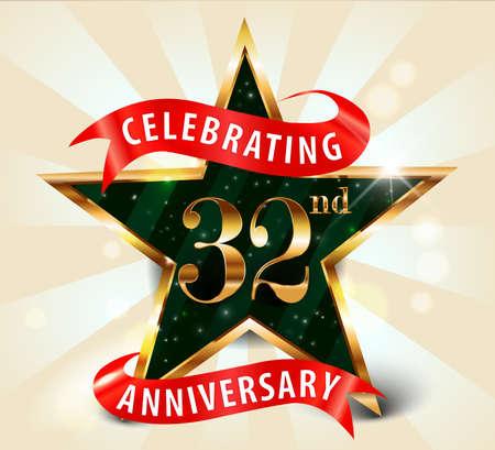 32: 32 year anniversary celebration golden star ribbon, celebrating 32nd anniversary decorative golden invitation card - vector eps10 Illustration