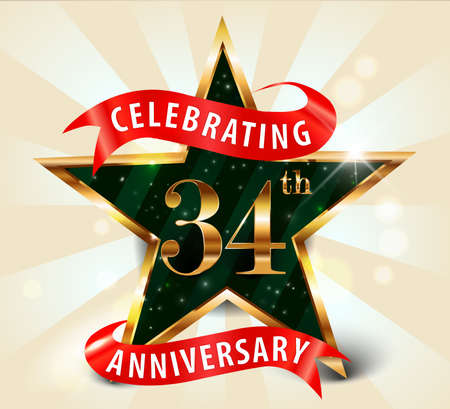 34: 34 year anniversary celebration golden star ribbon, celebrating 34th anniversary decorative golden invitation card - vector eps10