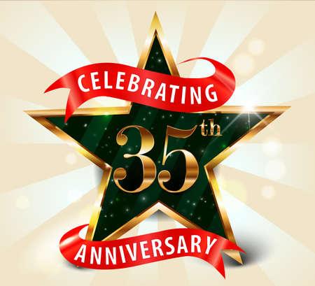 35th: 35 year anniversary celebration golden star ribbon, celebrating 35th anniversary decorative golden invitation card - vector eps10