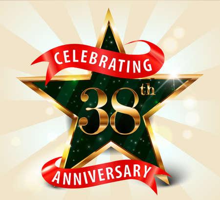 38: 38 year anniversary celebration golden star ribbon, celebrating 38th anniversary decorative golden invitation card - vector eps10 Illustration