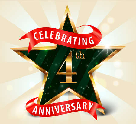4 year anniversary celebration golden star ribbon, celebrating 4th anniversary decorative golden invitation card - vector eps10