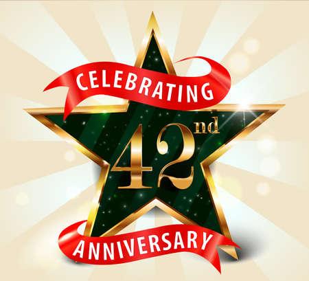 42nd: 42 year anniversary celebration golden star ribbon, celebrating 42nd anniversary decorative golden invitation card - vector eps10