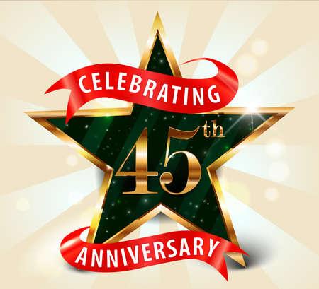 45 year anniversary celebration golden star ribbon, celebrating 45th anniversary decorative golden invitation card - vector eps10