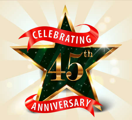 45th: 45 year anniversary celebration golden star ribbon, celebrating 45th anniversary decorative golden invitation card - vector eps10