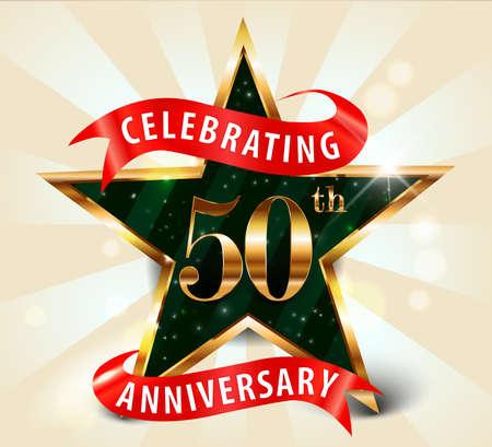 50 year anniversary celebration golden star ribbon, celebrating 50th anniversary decorative golden invitation card - vector eps10 Vectores