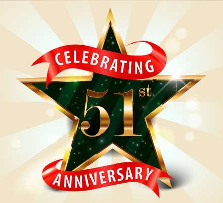 gold age: 51 year anniversary celebration golden star ribbon, celebrating 51st anniversary decorative golden invitation card - vector eps10