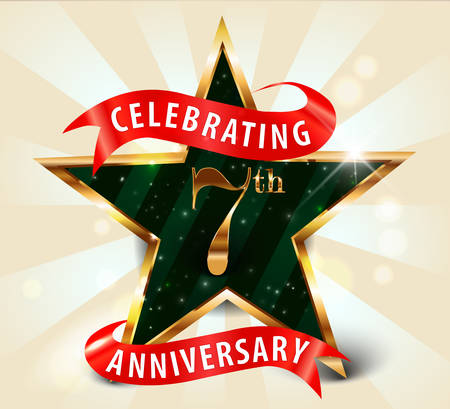 celebrations: 7 year anniversary celebration golden star ribbon, celebrating 7th anniversary decorative golden invitation card - vector eps10