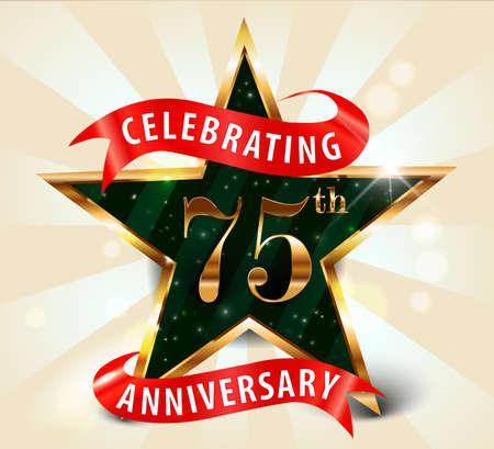 gold age: 75 year anniversary celebration golden star ribbon, celebrating 75th anniversary decorative golden invitation card - vector eps10