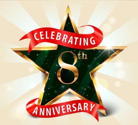 8year anniversary celebration golden star ribbon, celebrating 8th anniversary decorative golden invitation card - vector eps10