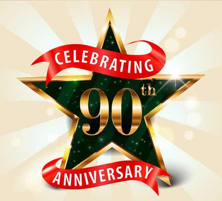 90th: 90 year anniversary celebration golden star ribbon, celebrating 90th anniversary decorative golden invitation card - vector eps10