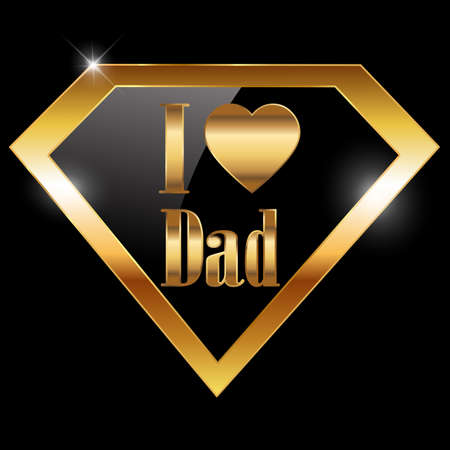happy fathers day, i love dad greeting card with super hero golden text - vector illustration eps10