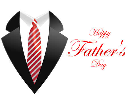 happy fathers day, greeting card with coat and necktie - vector illustration eps10