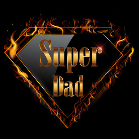happy fathers day, super dad greeting card with super hero golden text with fire- vector illustration eps10
