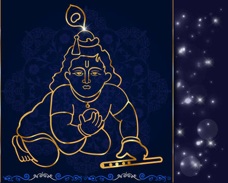 krishna: Little Krishna with flute,hindu god krishna artwork vector eps-10