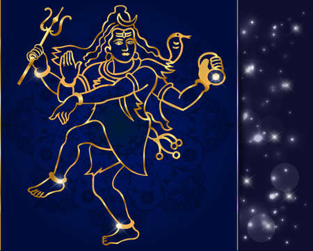 Hindu deity lord Shiva on a sparkling background vector  Illustration