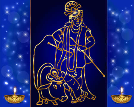 almighty: Krishna with goldenartwork sits on the cow and plays the flute on the blue backgroundvector - eps10